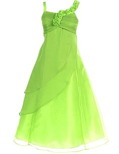 FAIRY COUPLE Big Girl's A-line Straps Chiffon Flower Girl Dress for Wedding K0034 10 Apple Green. Angelic Floor Length Girl's Dress by Fahion Plaza.Perfect for Flower Girl Dress, Communion Dress, Pageant Dress, Easter Dress, and Other Special Occasions. High Quality Chiffon Sleeveless Bodice, Back Zippered Closure. Thin strap with one side decorated with flower. Sizes 2-12 Available. Detailed size info please check our size chart on the left.Please Do Not choose the size according to your...