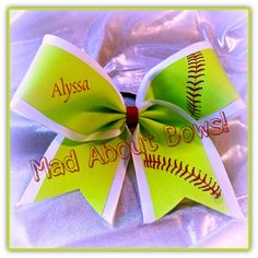 Neon Yellow Softball Cheer Bow Red Stitching by MadAboutBows1 #softball #SoftballBow #SoftballCheerBow
