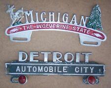 Pair Of Vintage License Plate Toppers For Michigan And Detroit