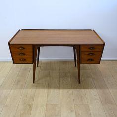 Buy Retro Uddebo teak desk by Alf Svensson from Mark Parrish Mid Century Modern Furniture, Midcentury Design.