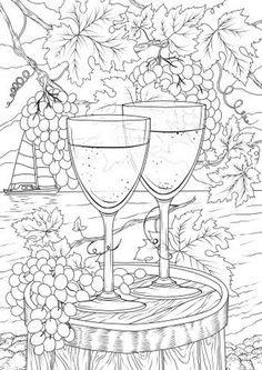 Wine for Two - Printable Adult Coloring Page from Favoreads (Coloring book pages for adults and kids, Coloring sheets, Coloring designs) Wedding Coloring Pages, Cute Coloring Pages, Free Coloring, Coloring Books, Kids Coloring, Printable Coloring Sheets, Printable Adult Coloring Pages, Images, Wine
