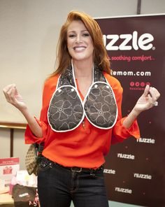"""Angie Everhart supermodel, actress and producer has a zen moment while trying on a warm She stated """"The heat on the neck area feels as good as a hug. One does not have to be nursing to enjoy this product! Angie Everhart, Supermodels, Hug, Nursing, Feels, Good Things, Actresses, In This Moment, Warm"""