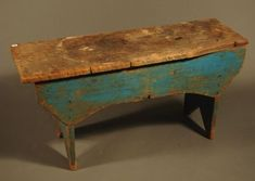 Antique Country Primitive Bench Painted Blue.