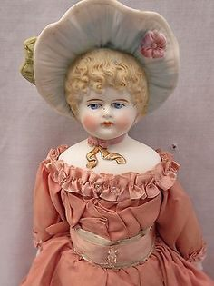 "Antique 14"" Parian Type China Doll with Fancy Molded Bonnet Missing Foot 
