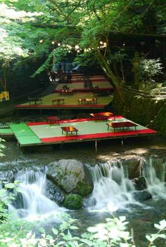 Traditional riverbed meal in the small town of #Kibune, #Japan