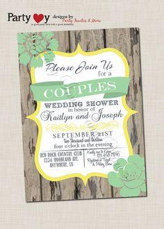 rustic string lights wood wedding couples shower card | wedding, Wedding invitations