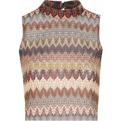 £: Multi Feather Print Knitted Polo Crop Top