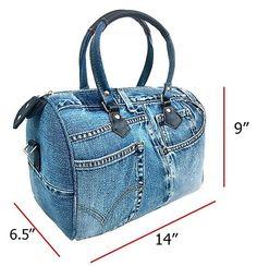 BDJ Unique Large Blue Denim Doctor Style Top Handle Shoulder Handbag BL070: Handbags: Amazon.com