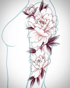 Japan Tattoo Design, Floral Tattoo Design, Flower Tattoo Designs, Bild Tattoos, Body Art Tattoos, Sleeve Tattoos, Japanese Peony Tattoo, Japanese Flowers, Henna Tattoo Hand