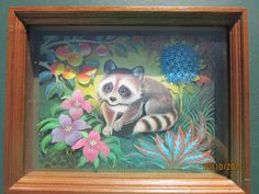 Framed Raccoon 3D Print  Shadow Box  Kids Art  by DoodahsAttic