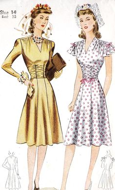 1930s Misses Cocktail Dress or Day Dress by MissBettysAttic