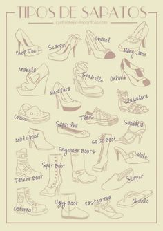 A Visual Glossary of Shoe Types Via More Visual Glossaries (for Her): Backpacks / Bags / Hats / Belt knots / Coats / Collars / Darts / Dress...