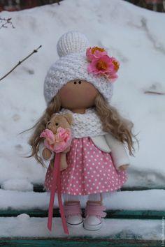 Купить Розовый бутончик - бледно-розовый, кукла текстильная, кукла интерьерная, кукла в подарок, хандмейд