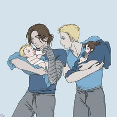 Baby Problem: Super Daddy by SilasSamle on DeviantArt The one that Steve is holding has a metal arm. This is so adorable.