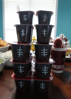 Super easy and cheap football party food ideas. Great for a super Bowl party with kids! Football pudding! Fear the Spear - Football Birthday Party Ideas, Food, Decor and Activities Football Favors, Football Party Foods, Football Birthday, Kids Football, Chocolate Covered Pretzel Sticks, Pudding Cups, Birthday Party Themes, Party Ideas, Activities