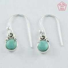 Pretty 1.4 gm Turquoise Stone Sterling Silver 925 Jewelry Earrings $ 8.99 #SilvexImagesIndiaPvtLtd #DropDangle