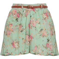Mint Floral Belted Culotte Short (53 BRL) ❤ liked on Polyvore featuring shorts, skirts, bottoms, pants, short culottes, mint floral shorts, mint shorts, floral shorts and short shorts