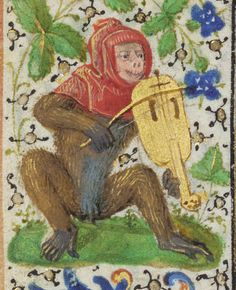 Red-hooded monkey playing the vielle, Prayer Book of Charles the Bold. Ms. 37, fol. 41v, c. 1469. J. Paul Getty Museum