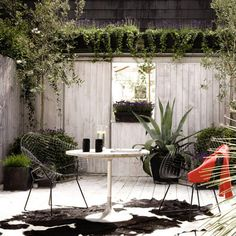Wooden fenced courtyard garden with cool furniture