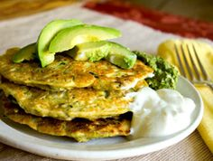 Savory Corn Zucchini Fritters: Cornmeal, fresh corn, grated zucchini, onion, garlic. I call these fritters, but they look like pancakes to me. Whatever you call them, these tasty morsels are easy to make and satisfying to eat. 4 - 6 makes a meal with salad or soup.
