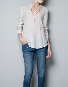 MAO COLLAR BLOUSE - Shirts - Woman - ZARA United States