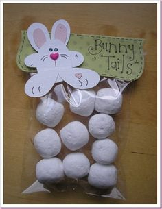bunny tails--could use marshmallows or donut holes.... I'm liking the donut holes better!