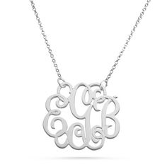 Personalized Sterling Silver Fancy Monogram Necklace With Free Keepsake Box, Add Your Message