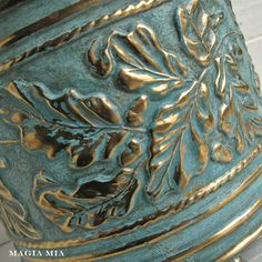 Aqua Chalk Paint on Brass Planter