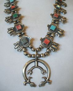 Signed H. MORGAN Vintage NAVAJO Sterling Turquoise & Spiny Oyster Shell NECKLACE #AUTHENTICVINTAGENATIVEAMERICANJEWELRY