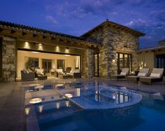 Modern Home, House Exterior With Swimming Pool: Modern Spanish House with Traditional Interior Design