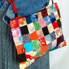 Japanese Vintage Kimono 2 Way Patchwork Bag  P21 by kazuewest, $98.00