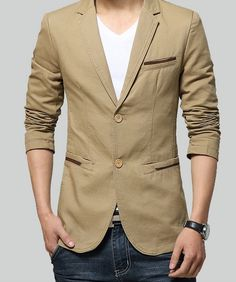 Men Casual Sports Jacket in Khaki or Black. This Men Blazer is casual and suits for your everyday wear. Buy direct and save $20. Reg $69.95. Now $49.95! Material : Cotton Blend / Polyester Color : Kha