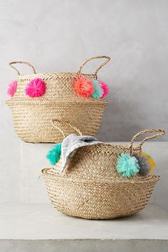 $118 Pom Pom Seagrass Basket #anthropologie