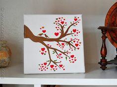 Birds on a Branch: Love Birds in a Heart Tree on Canvas - CraftsbyAmanda.com @amandaformaro