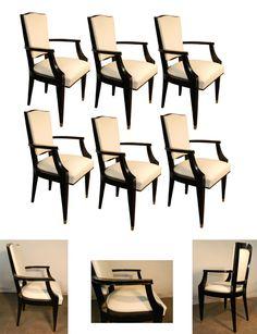 JEAN PASCAUD (attribué a ) suite de 6 fauteuils bridges art deco entièrement restaurés. Bois noirci et vernis, cuir blanc.