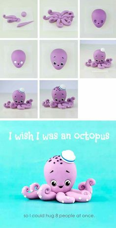 Modeling an Octopus of Polymer Clay 50 Inspirational DIY Polymer Clay Figurine Ideas . - Modeling an Octopus of Polymer Clay 50 Inspirational DIY Polymer Clay Figurine Ideas … - Polymer Clay Figures, Cute Polymer Clay, Polymer Clay Animals, Polymer Clay Projects, Polymer Clay Jewelry, Diy Fimo, Diy Clay, Cake Topper Tutorial, Fondant Tutorial