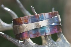 Silver Cross - a handmade copper and sterling silver bracelet. by artiumdesigns on Etsy