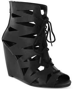 Mia Juna Caged Lace-Up Wedge Sandals synthetic black, cognac 3.75h (59.00) NA 10/15