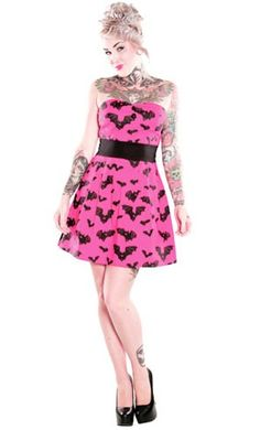 i own this in red, love it!    Sourpuss // Sourpuss Bat Attack Dress Pink    http://www.tragicbeautiful.com/catalog/product/view/id/273/s/sourpuss-bat-attack-dress-pink/category/256/