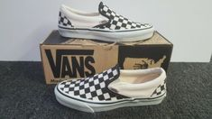 8093bc2788 Vintage Vans SLIP ON Shoes BLACK and WHITE CHECKER made USA 7.5 NOS Old  Skool