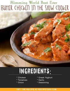 Slimming World Recipes | Slimming World Best Ever Butter Chicken In The Slow Cooker recipe from RecipeThis.com #chickenfoodrecipes