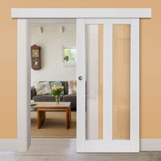 Thruslide Surface Dominica White Primed Sliding Door and Track Kit - Clear Glass - Lifestyle Image. Sliding Door Panels, Sliding Door Window Treatments, Internal Sliding Doors, Barn Style Sliding Doors, Sliding Door Track, Sliding Door Hardware, Primed Doors, Small Doors, Doors