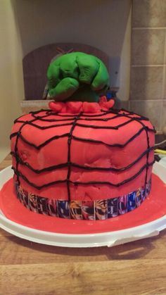 The hulk hand which was a topper for the avengers assemble cake