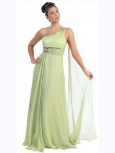 A-line Floor-length One Shoulder Sleeveless Chiffon Formal Dress with Beading