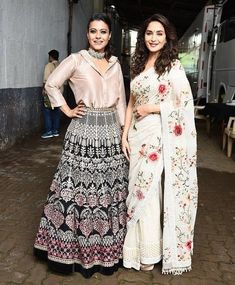 Two divas in one frame, Madhuri Dixit and Kajol get clicked on the sets of Dance Deewane Half Saree Designs, Kurti Neck Designs, Blouse Designs, Lehenga Designs, Pakistani Dresses, Indian Dresses, Indian Outfits, Anarkali Dress, Indian Attire