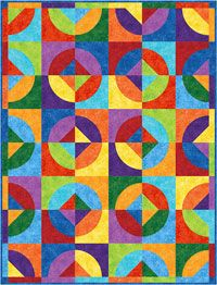 Rainbow Go Round Quilt Pattern by Elisa Wilson of Back Porch Design at KayeWood.com. Quick curved piecing is easy to do. Step by step instructions for cutting and sewing. http://www.kayewood.com/item/Rainbow_Go_Round_Quilt_Pattern/3007 $9.00