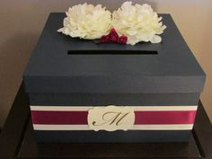 Wedding Card Box, Burgundy And Navy Wedding Card Holder, Navy And Burgundy Gift…
