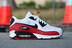 Nike Air Max 90 Sport Red: A new colorway in Nike's Air Max 90 arrives at Primitive. Outfitted with sport red accents, the sneaker sits atop a mostly white leather/mesh base. Air Max Sneakers, Sneakers Mode, Sneakers Fashion, Fashion Shoes, Black Sneakers, Fashion Outfits, Nike Sneakers, Nike Air Max Tn, Nike Free Shoes