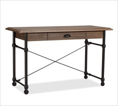 Blackened iron and rustic mango wood come together to create a handsome combination of colors and textures. Easily paired with both wood and metal beds, our Warren Desk is carefully crafted with a spacious overhanging top and hand distressed for t… Wood And Metal Desk, Metal Desks, Wood Desk, Woodworking Furniture Plans, Woodworking Projects That Sell, Woodworking Lathe, Woodworking Basics, Woodworking Machinery, Woodworking Workshop