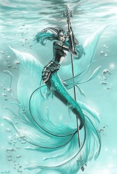 Splashwoman_illustration_fantasy_mermaid_warrior_digital_art---Unknown Artist